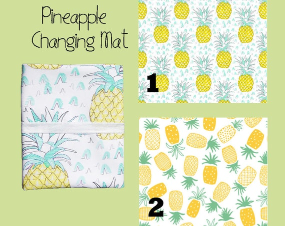 Changing mat, changing pad, travel changing mat, diaper changing, nappy, waterproof changing mat, pineapple, kona cotton
