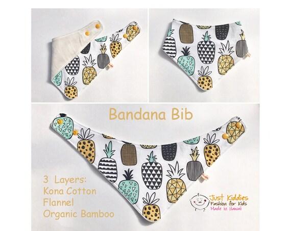 BANDANA BIB * Organic Bamboo/Cotton * ALOHA * Baby Shower gift * Newborn gift * Pineapple *