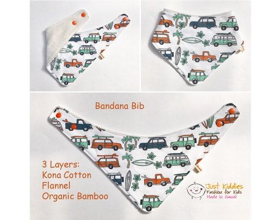BANDANA BIB * Organic Bamboo/Cotton * ALOHA * Baby Shower gift * Newborn gift * Surfer Van *