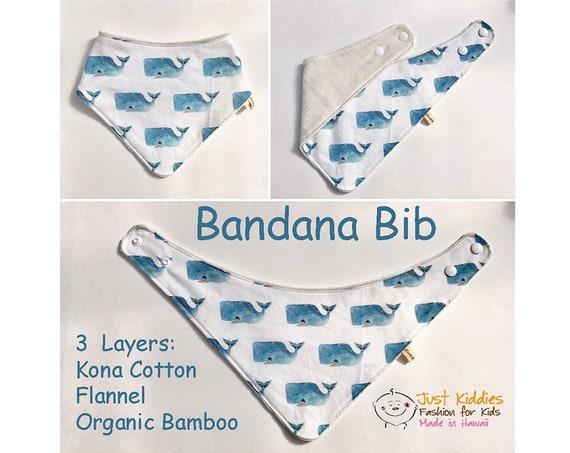 BANDANA BIB * Organic Bamboo/Cotton * ALOHA * Baby Shower gift * Newborn gift * Whales * Ocean