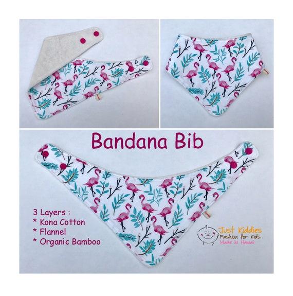 BANDANA BIB * Organic Bamboo/Cotton * ALOHA * Baby Shower gift * Newborn gift * Pink Flamingo *