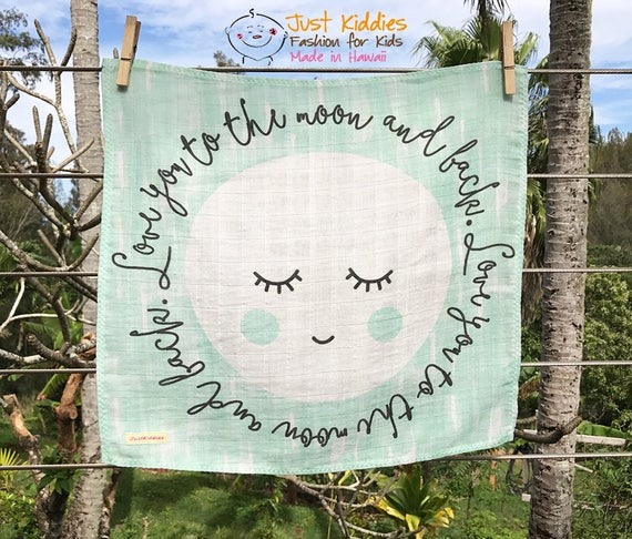 LOVEY * Love You To The Moon And Back * Organic Cotton Double Gauze * Security Blanket * 16x16,5 inches