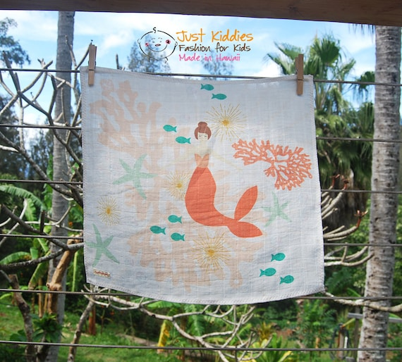 LOVEY * MERMAID * coral * Organic Cotton Double Gauze * Security Blanket * Organic