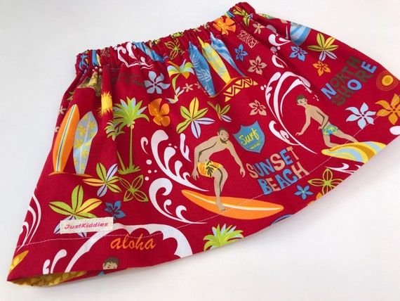 Red Skirt with Surfer Print, NORTH SHORE Hawaii, Hawaii print, Cotton