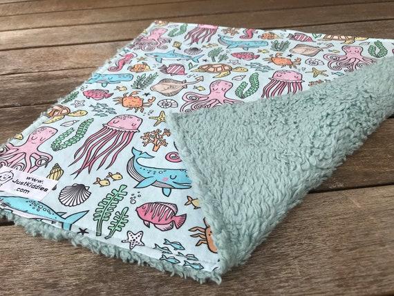LOVEY * OCEAN FRIENDS * Kona Cotton * Organic Sherpa * Security Blanket * super soft * Organic
