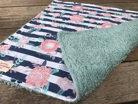 LOVEY * DENIM and FLOWERS * Kona Cotton * Organic Sherpa * Security Blanket * super soft * Organic