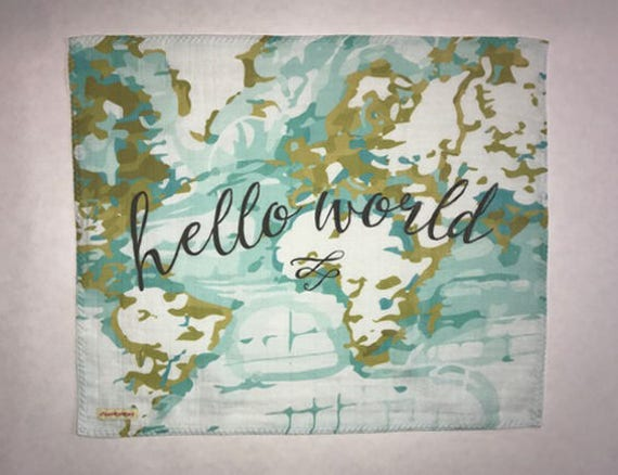 LOVEY * Hello World * Organic Cotton Double Gauze * Security Blanket * 16x16,5 inches