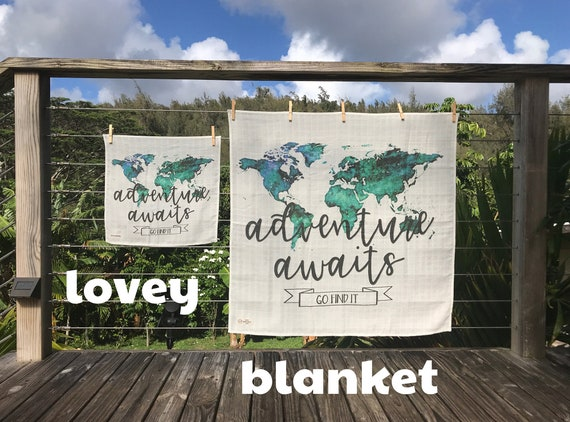 LOVEY or BLANKET * ADVENTURE Awaits * Organic Cotton Double Gauze * Security Blanket *