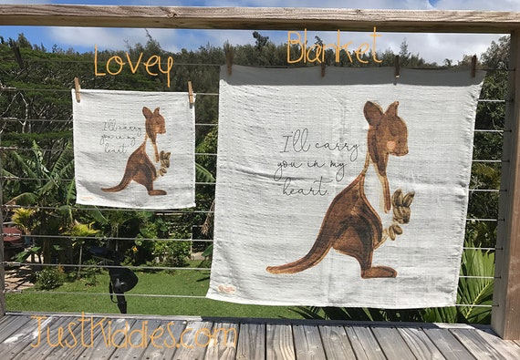 LOVEY or BLANKET * KANGAROO * Organic Cotton Double Gauze * Security Blanket * 16x16,5 inches