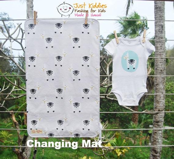 Llama Changing mat, changing pad, travel changing mat, diaper changing, nappy, waterproof changing mat, Llama, kona cotton