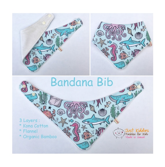 BANDANA BIB * Organic Bamboo/Cotton * ALOHA * Baby Shower gift * Newborn gift * Ocean Friends *
