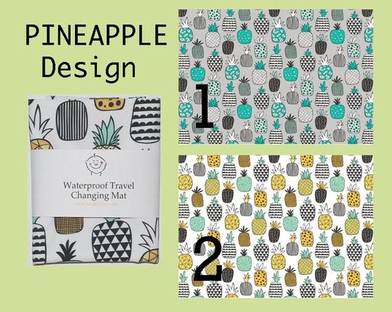 Changing mat, changing pad, travel changing mat, diaper changing, nappy, waterproof changing mat, pineapple, kona cotton