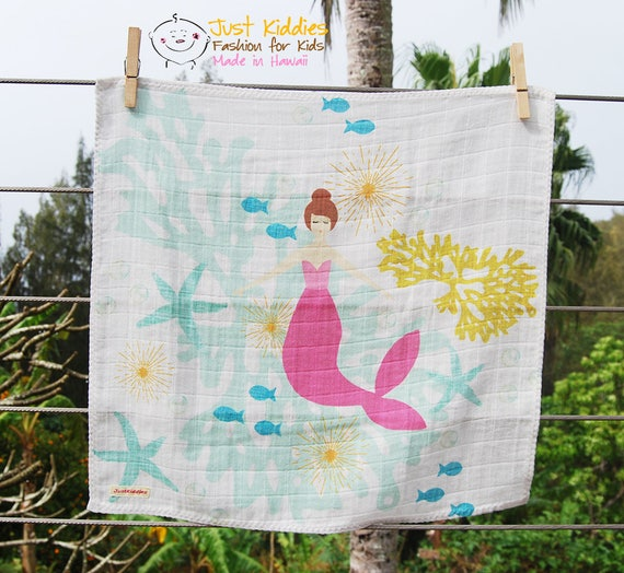 LOVEY * MERMAID * Organic Cotton Double Gauze * Security Blanket * 16x16,5 inches