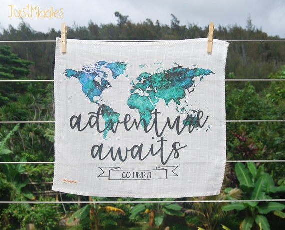 LOVEY * BLANKET * ADVENTURE Awaits * Organic Cotton Double Gauze * Security Blanket *