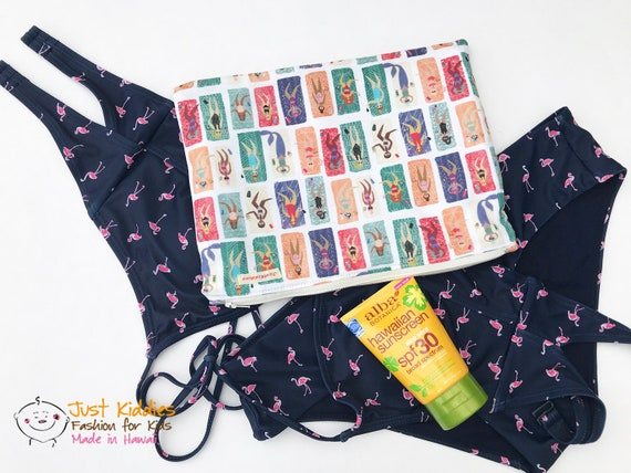 BEACH WET BAG + Beach Babes + Kona Cotton + Waterproof + Diaper Bag + Beach Bag +