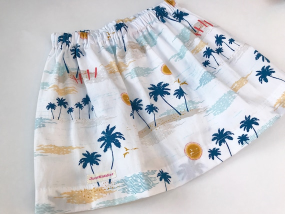 White Skirt with Palmtrees, Hawaii print, Cotton
