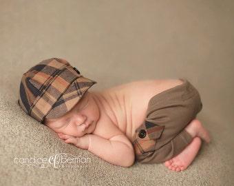 newborn boy HAT & PANT set (Anthony) - photography prop - navy, blue, tan, black, burgundy