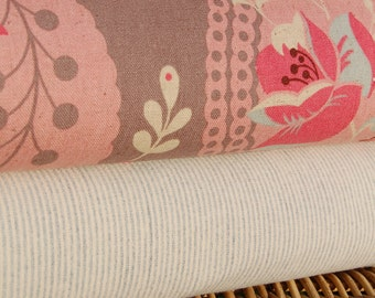 SALE-Lecien-Pink Isso Ecco and Heart  Half Yard