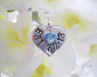 Custom Handstamped Sterling Silver Bouquet Charm - Swarovski Crystal or Pearl Accent - I DO