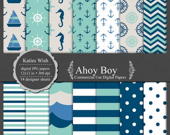 Nautical digital paper kit Ahoy Boy, small commercial use ok instant download file for digital scrapbooking, invites, card making