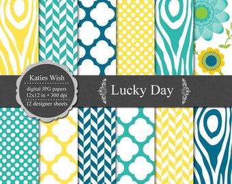 Digital Scrapbook Paper Kit 12x12 inch jpg Instant Download - Lucky Day