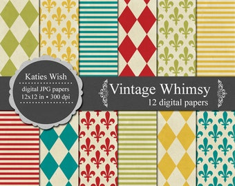 Vintage Whimsy Digital Paper Kit 12x12 inches jpg files for commercial use