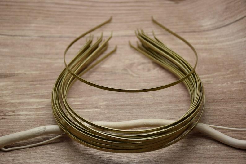 50pcs 3mm width 37cm length metal bronze headband with bent end