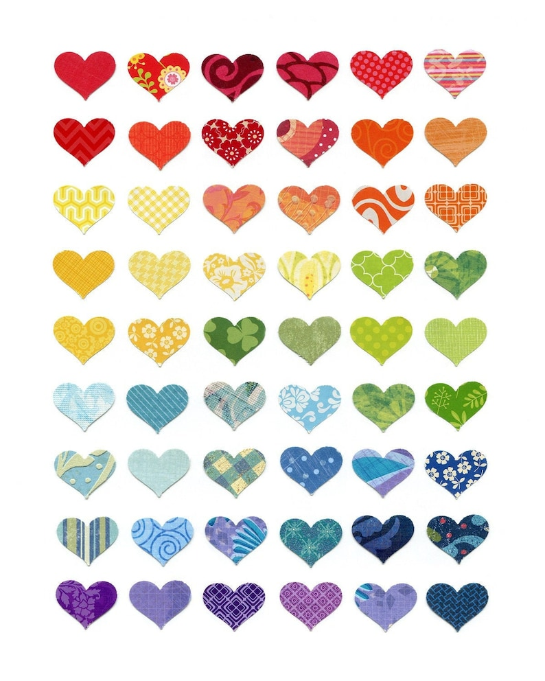 Rainbow of Love Colorful Hearts Modern Print Nursery Wall image 0