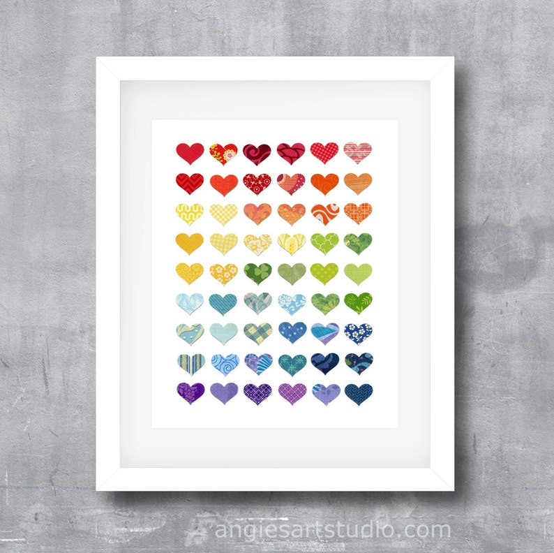 Rainbow of Love Hearts Colorful Hearts Modern Poster Print image 0
