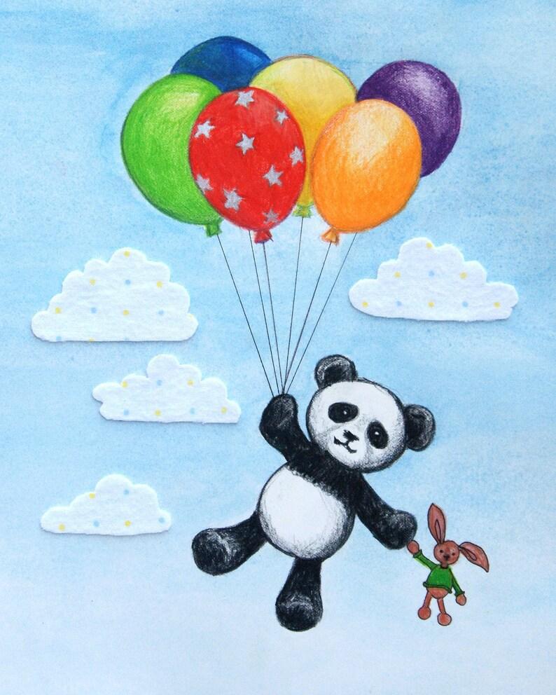 Pablo Panda Balloon Adventure Nursery Wall Art Print Modern image 0