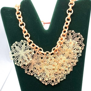 Boho Hippie Victorian Revival Necklace Chic vintage 1960/'s Gold Metal Cameo Festoon Necklace