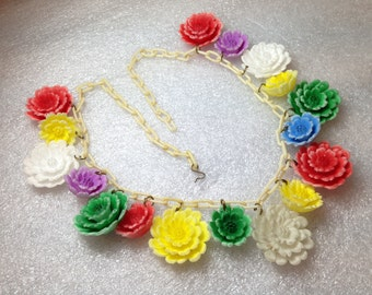 Vintage early plastic celluloid painted flowers necklace