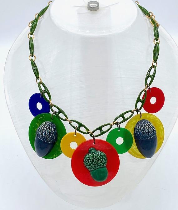 Vintage bakelite acorns necklace