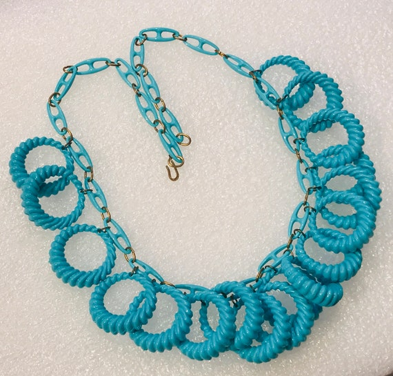 Vintage Art Deco Necklace 1930s Turquoise White Lucite Early Plastic Geometric Necklace