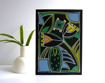 Contemporary Art Deco painting, 20th century modern, mixed media drawing