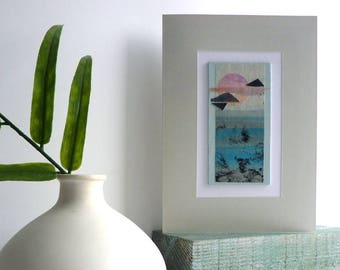 Seascape collage artwork, unique art gift, Nature inspired art, frame-able 5 x 7 art