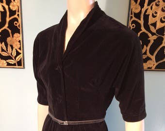 SOLD to KaTiE FINDLAY Vintage 40s 50s Black VELVET Button Front Wiggke Shirt Dress
