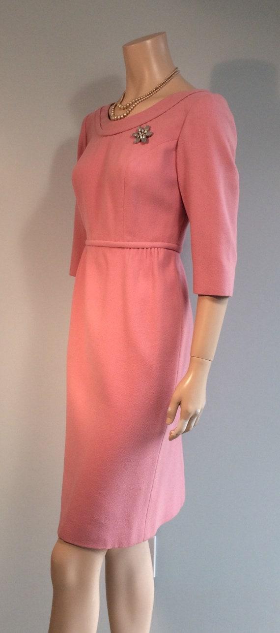 Vintage 50s 60s Pastel PINK WIGGLE Cocktail Dress