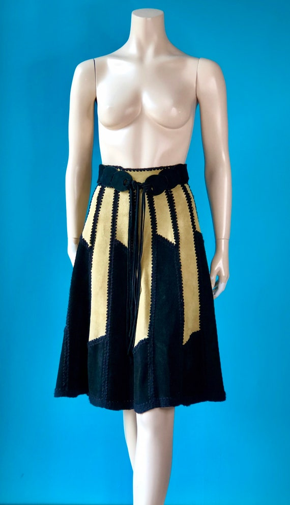 Vintage70s Boho Colorblock SUEDE Hippie Skirt