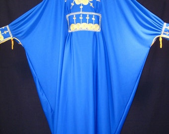 Vintage Cobalt Blue and Metallic Gold Sequin Embroidered Ethnic Persian Boho Hippie Caftan Dress S M L XL