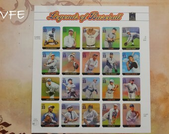 LEGENDS OF BASEBALL, Block of 20 unused .33 cent postage stamps