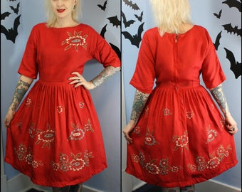 Beautiful True Vintage 1950s Womens Red Hand Painted Floral Dress Silk Blend Retro Modern Size Medium Large Pin Up Cocktail Dress