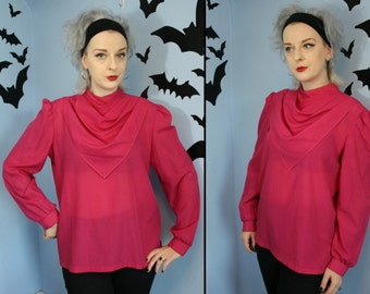 Pretty in Pink 80s Vintage Womens Blouse Ruched Bandana Collar by Lucky Winner Modern Size Large