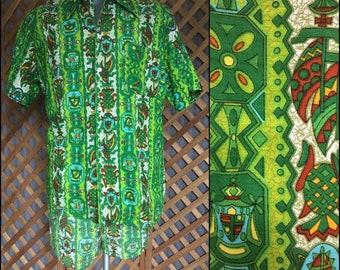 2ce65ecc0c Vintage Mens 1960s 1970s Barkcloth Cabana Set Shirt & Swim Shorts XL  Towncraft JcPenney Tiki Retro Hawaiian Luau Loungewear