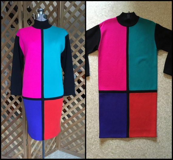 Vintage Womens 1980s 1990s Mondrian Geometric Bloc