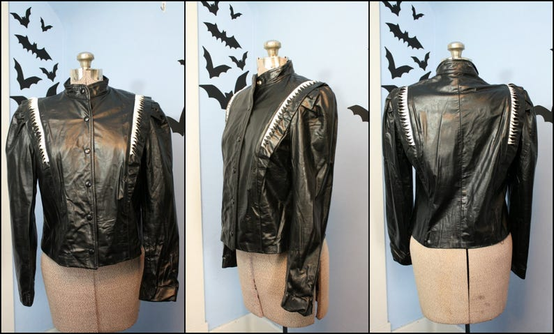 Vintage Womens 80s Black and White Motorcycle Jacket Cafe Racer Medium Joan Jett Rocker Style AS IS