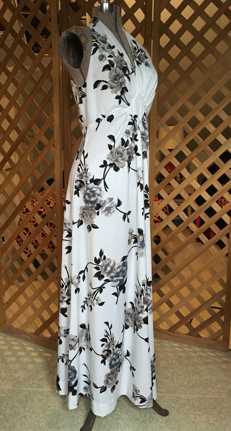 Womens Vintage 1970s Two Piece Maxi Dress with Matching Jacket Black and White Floral Halter Retro Style Disco Festival Large