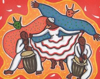 Bomba Dance Puerto Rico with Vejigantes - Puerto Rican Art Print or Art on Tile