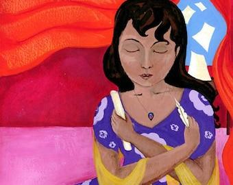 Inspiration (Inspiracion) -Puerto Rican Writer with Flag Art Print