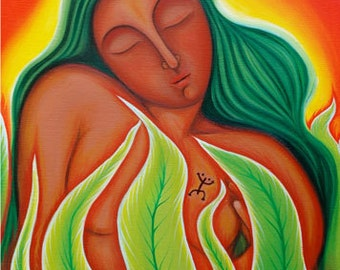 Atabey Gives Birth to The Coqui - Taino Art and Mythology Art Print Puerto Rican Art